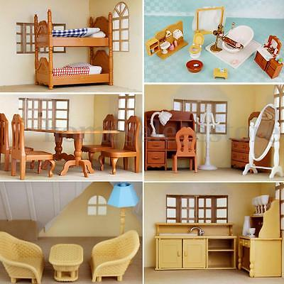Miniature Doll House Furniture Set Kitchen Living Bathroom kids Pretend Play Toy