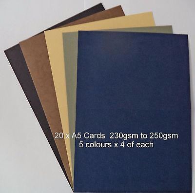 20 x A5   MENS COLOURS   CARD STOCK,  card making scrapbooking*CLEARANCE*
