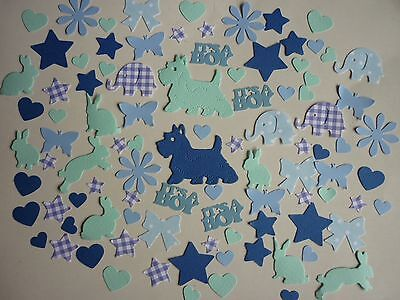 100 Blue Embellishments  New Baby Boy Birthday  Cardmaking Scrapbooking