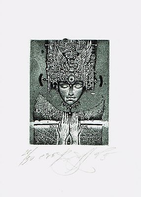 Roman Sustov, ex libris O. S., signed etching ! One of the his first works !