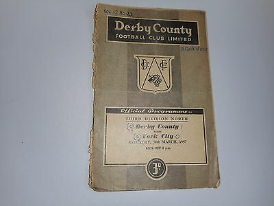 DERBY COUNTY  v  YORK CITY  1956/7  DIVISION 3 NORTH ~ MARCH 30th  **FREE POST**