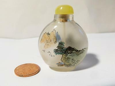 Chinese Small Snuff Bottle Inside Painted House in Mountains Boats & Trees #S1