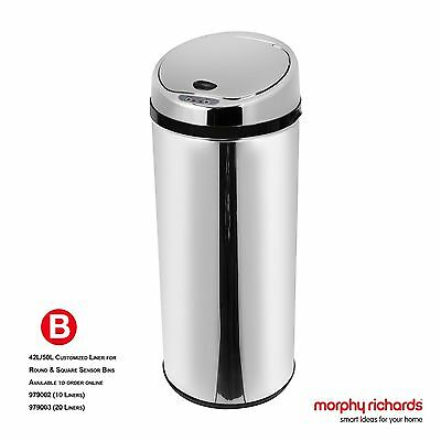 Morphy Richards 42 Litre Round Sensor Bin - Stainless Steel