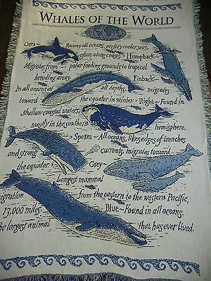Whales Of The World.ocean.facts.orca.humpback.finback.blue.woven Afghan,throw