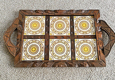Handcarved Handmade Mexican Wood & Tile Tray With Handles Yellow BOHO hippie