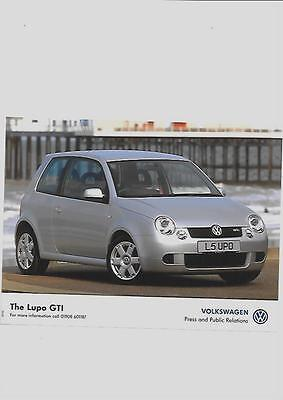 VW VOLKSWAGEN LUPO GTi PRESS PHOTO SEPTEMBER  2001 'SALES BROCHURE' CONNECTED
