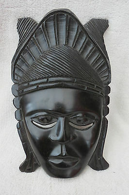 Vintage Carved Heavy Hard Wood Tribal Wall Mask
