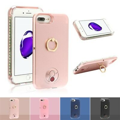 LED Light Up Selfie Case Cover Ring Holder Power lot for Apple iPhone 6s 7 Plus