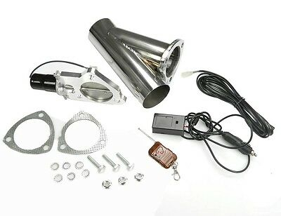 "STAINLESS UNIVERSAL EXHAUST CUTOUT-OUT VALVE E-CUT KIT REMOTE 3"" / 76mm"