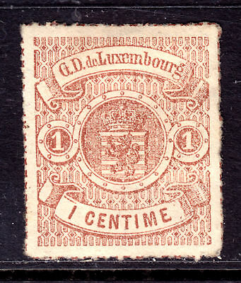 1872 LUXEMBOURG ROULETTED #17 1c RED BROWN, VF, ORIGINAL GUM, HINGED