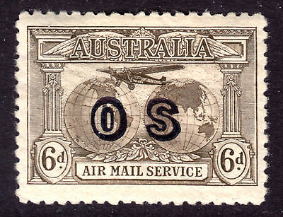 1931 AUSTRALIA AIR POST OFFICIAL #CO1 6p OLIVE BROWN, VF, ORIGINAL GUM, HINGED