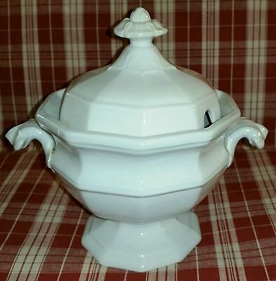 c.1853 English White Ironstone Gothic Form Sauce Tureen by George Wooliscroft