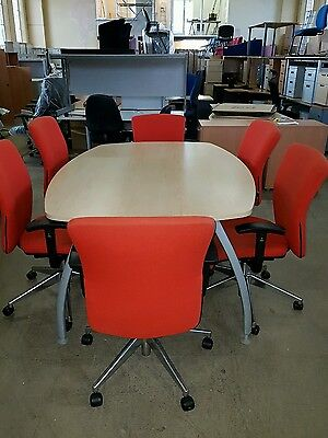 Reduced Used boardroom conference meeting table 6 used orange chairs chrome legs