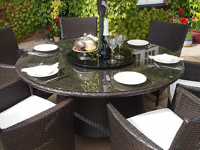 Grey Rattan Garden Furniture Round Patio Table and 6 Carver Chairs Dining Set