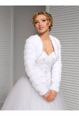 Wedding Ivory Faux Fur Shrug Bridal Bolero Jacket Long Sleeve Size Uk 18