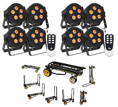 (8) American DJ ADJ 5P-HEX 6-In-1 RGBAW+UV LED DMX Slim Par Lights+Remote+Cart