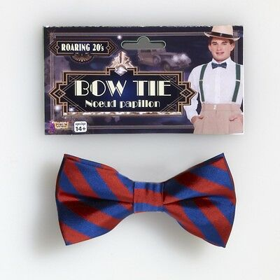 Red & Navy Blue Striped Bowtie Roarin 20's The Great Gatsby Costume Accessory