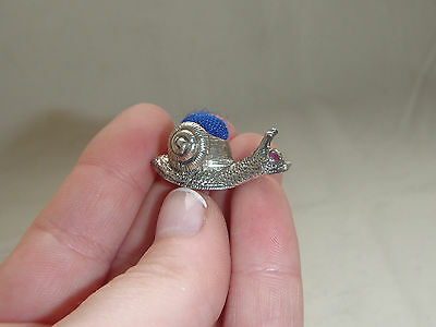 Miniature Solid Sterling Silver Hallmarked 925 Snail Pin Cushion Cute Ditsy Tiny