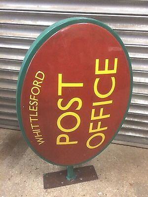 Old vintage wall fixed WHITTLESFORD Cambridgeshire double sided Post Office sign