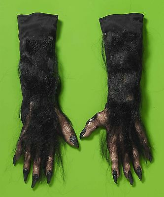 Black Hairy Werewolf Monster Hands Gloves Vinyl Furry Adult Costume Accessory