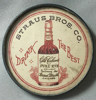 Original PRE-PROHIBITION Old Cabinet RYE WHISKEY Straus Bros Adver Pocket Mirror