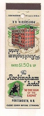 The Rockingham Hotel Portsmouth NH Rockingham County Matchcover 013017