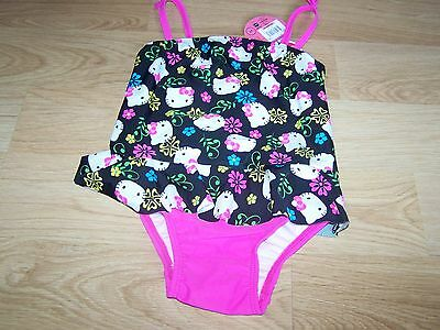 Size 2T Hello Kitty One-Piece Swimsuit Bathing Swim Suit Black Pink New