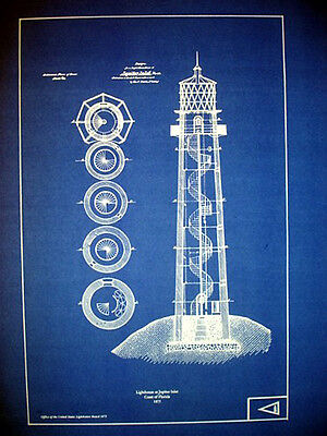 "US Lighthouse Coast of Florida Jupiter Inlet Blueprint Plans 14"" x 20"" (246)"