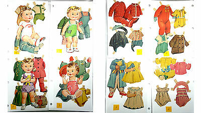Vintage Paper Dolls Girl Baby Girls  Clothes & Accessories Lot