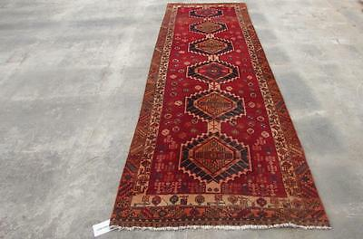 3'3X10'9 hand knotted tribal Persian Rug Vintage Woolen  Oriental Carpet  71