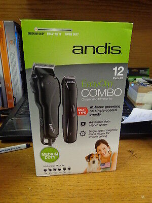 Andis EasyClip Combo Pet Clipper/Trimmer 12-Piece Kit ~ NEW 66305