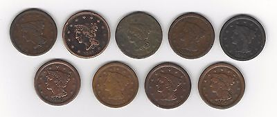 9 Different Date Large Cents 1840-1849 low grade and/or problems