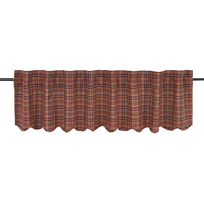 "Country Primitive Parker Scalloped Valance 72"" Rustic Burgundy Navy Curtain"