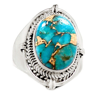 Copper Blue Turquoise 925 Sterling Silver Ring Jewelry s.5.5 RR3663
