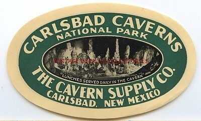 VINTAGE CARLSBAD CAVERNS SUPPLY CO 1930s NEW MEXICO STATE ORIGINAL LUGGAGE LABEL