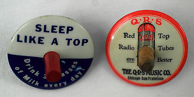 2 Celluloid Advertising Spinning Tops -  001
