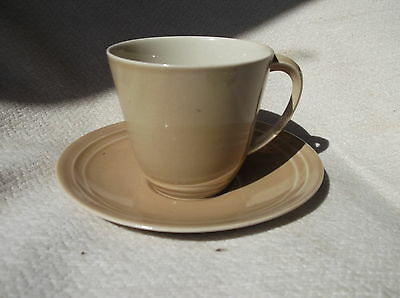 Vintage Rib Rim Saucer And Cup Branksome Superfine Stoneware Mocha Coffee Tone