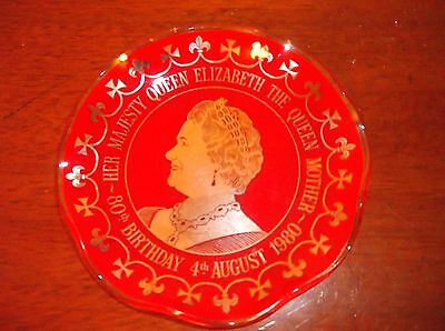 Collectable Gilded Red Clear Glass Pin Dish Queen Mother 80Th Birthday 1980