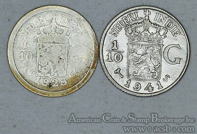 Netherlands East Indies 1/10 Gulden 1928 1941S silver 2 Coin Lot Gold Tones