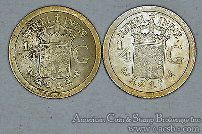 Netherlands East Indies 1/4 Gulden 1912 1917 silver 2 Coin Lot Gold Tone
