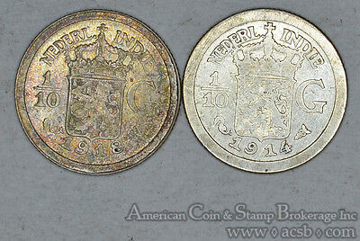 Netherlands East Indies 1/10 Gulden 1914 1918 silver 2 Coin Lot Gold Tones