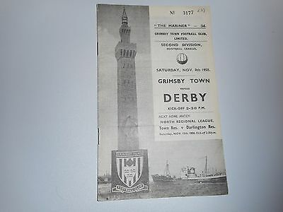 GRIMSBY TOWN  v  DERBY COUNTY  1958/9  ~ NOVEMBER 8th  *****FREE POST*****