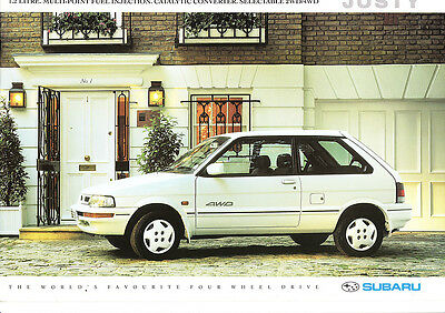 Subaru Justy,1.2 litre,4WD,Fuel Injection,3 & 5 Door,Factory Sales Brochure,1992