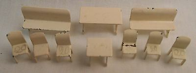 Vintage Marklin MMM HO OO Metal Tables Benches Chairs Lot