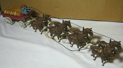 Cast Iron Reproduction Toy Horse Drawn Beer Wagon w/ Driver & Dog  T*