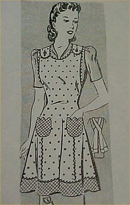 SALE Vintage Bib Apron Full Size Pattern 1940s WWII Style Tulip Pockets Sewing