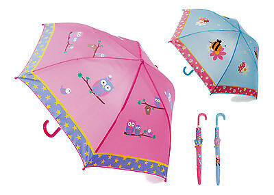 """Childrens / Girls Umbrella with Bee or Owls Design ~ Pink or Blue ~ 28"""" Diameter"""