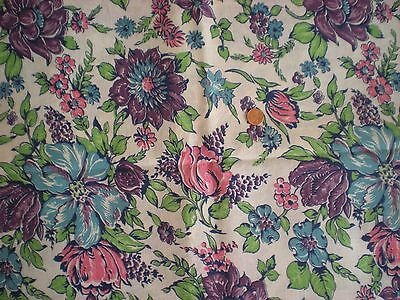 FLORAL Full Vtg FEEDSACK Quilt Sewing DollClothes Cotton Fabric PinkPurpleBlue