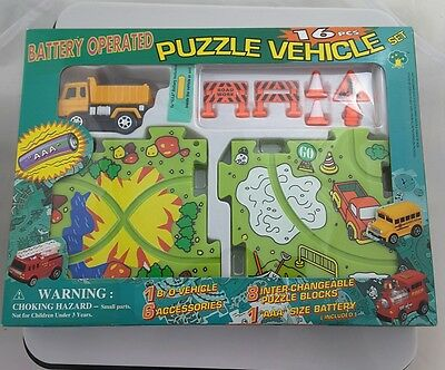 Battery Operated Puzzle Vehicle Set Track 16 pcs.