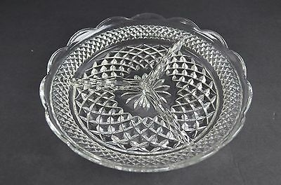 "Vintage Wexford China Glass Round Divided Serving Plate 8.5"" Round"